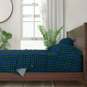 Campbell Tartan Plaid Checked Green 100% Cotton Sateen Sheet Set by Roostery