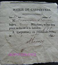BILLET DE LOGEMENT pour 2 militaires CARPENTRAS 1840