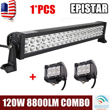 22''Inch 120W LED Light Bar Offroad Work Lamp Combo+2x 4inch 18W Pods Flood Beam