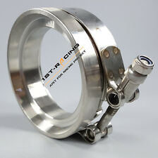 GT45 T304 STAINLESS STEEL V-BAND TURBO/TURBOCHARGER ELBOW DOWNPIPE CLAMP+FLANGE
