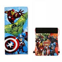 "MARVEL AVENGERS Kids Bath Beach Towel Cotton 28"" X 58"" + Sling Bag Hulk Iron Man"