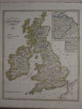 1846 SPRUNER ANTIQUE HISTORICAL MAP  BRITISH ISLES 1485 ENGLISH SCOTTISH GLASGOW
