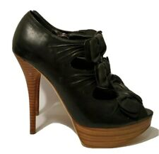NYLA Daris Black Leather Bow Peep-Toe Stiletto Pump High Heels for Women 8.5M