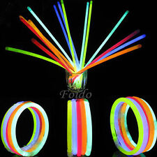 "100x 8"" GLOW STICKS BRACELETS NECKLACES PARTY FAVORS NEON COLOR + 100 CONNECTORS"
