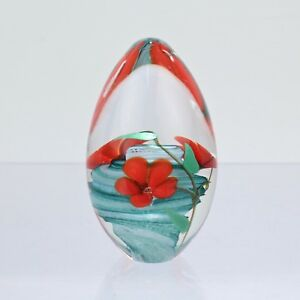 VTG 1990 Glass Eye Studio Egg Paperweight W Red Lampwork Flowers - No 704 GL
