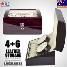 XTELARY Ebony Quad Piano Wood Automatic Luxury Watch Winder Display Box Case 4+6