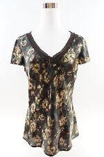 ANN TAYLOR Loft Cap Sleeve Smocked V-Neck Blouse Size 6 Multicolor