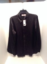 NWT Chico's Outlet Rigley in Black Textured Pleats Button Down Top Size 1 Medium