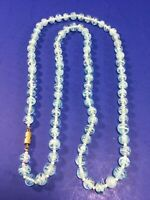 """Vintage Blue Swirled Glass Beaded 30"""" Necklace."""