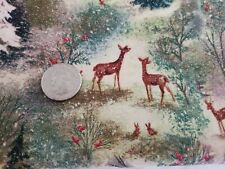 Vintage Forest Fabric Cotton Deer Evergreens Glitter 4.5 YARDS