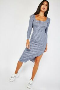 Womens Ladies Square-neck Striped Long Sleeve Dress with side slit and Tie-back