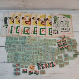 VINTAGE S & H Green Stamps Filled Books Mid Century Lot Of 8 Plus Extra Stamps