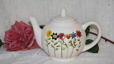 Spring Garden Teapot Rae Dunn Artisan Collection Brown Betty Style White Teapot