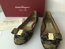 Authentic salvatore ferragamo rubi and gold satin tarita flat  Size 36/UK3/US6