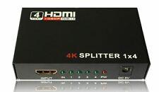 HDMI Splitter 1 in 4 out Full HD 4 Port Hub Repeater Amplifier v1.4 3D 4K 1080p