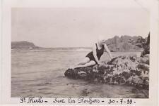 PHOTOGRAPHIE ANCIENNE/SAINT MALO - JEUNE FEMME EN MAILLOT ET BONNET DE BAIN-1933
