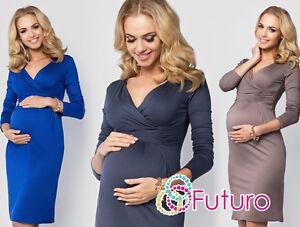Womens Maternity Elegant Wrap Dress Knee Length Pregnancy V-Neck Sizes 8-18 6801