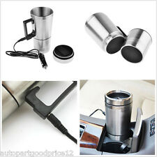 12V In-Car Thermos Thermal Heated Travel Mug Cup Caravanning Camping Coffee Tea