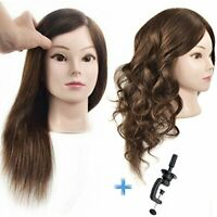 ErSiMan Professional Female Cosmetology Mannequin Head with 100% Real Human Hair