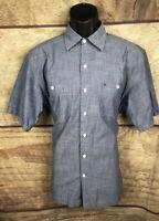 Izod Shirt Men's Size Medium Short Sleeve Button Up Cotton Blue (a27)