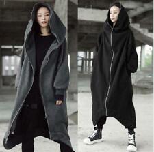 Womens 2020 AW Fashion Hooded Zipper Loose Fleeced Hoodie Jacket Long Coat 7464