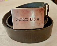 Guess Vintage Leather black Belt Heavy Metal Buckle USA Made 36 Unisex