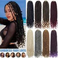 "16"" Goddess Faux Locs Crochet Braids Long Dreadlocks Hair Extensions Curly Ends"