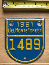 1981 Del Monte Forest California license plate attachment