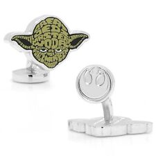 STAR WARS YODA TYPOGRAPHY SILVERTONE CUFFLINKS. EXCELLENT!