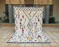 "Azilal rug 9'11""x6'2"" Wool Berber Moroccan Beni Ourain Rug Carpet handmade wool"