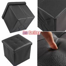 Folding Ottoman Footstool Blanket Box Faux Leather  Pouf Storage Cube Stool ACB#