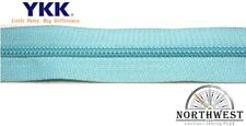 YKK Nylon Coil Zipper Tape # 5 Turquois 1 yard with 2 Nickle Zipper Sliders