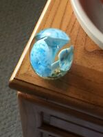 Vintage Blown Glass Paperweight - Controlled Bubbles, Abstract Floral Art Design