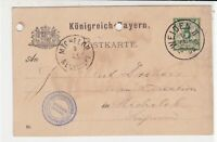 Germany Bavaria Early 1890 Weiden Cancel Green Stamp Card Ref 35040