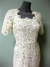 Dolce & Gabbana Ecru White Substantial Macrame Floral Lace Dress 38 Sweet Bridal