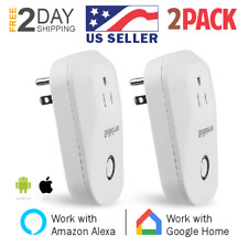 2 Pack Wi-Fi Smart Plug Remote Control Outlet Wireless Socket Google Alexa Home