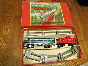 Vintage Large Model Train Set in Box   Std Gauge   Battery Operated