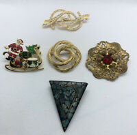 Lot Of 5 Vintage To New Pins Brooches