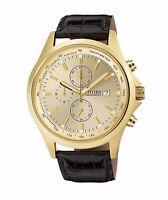 Citizen Men's AN3512-03P Quartz Gold Tone Chronograph Leather Strap 44mm Watch