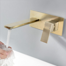 Brushed Gold Bathroom Basin Vanity Mixer Faucet W/ Wall Mount Concealed Box Taps