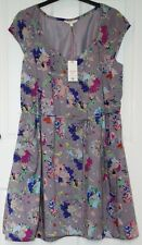 BNWT £49.95 White Stuff ENTICE Grey & Multicolour Tie Sash Dress - UK 12
