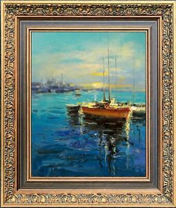 Gold Framed Texture Oil Painting, Blue Harbor Moonlit Night Scene, LawSon Signed