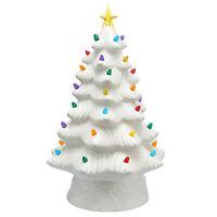 "NEW Mr. Christmas 16"" LED Retro Nostalgic Ceramic Christmas Tree WHITE Light Up"