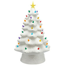 "NEW Mr. Christmas 16"" LED Retro Nostalgic Ceramic Christmas Tree WHITE Light Up"