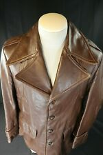VTG 1970s McGregor Brown Leather Trench Coat Jacket Men's 40 Rorschach Watchmen