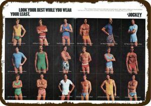 1976 JOCKEY UNDERWEAR Vintage Look DECORATIVE METAL SIGN MEN IN RETRO 70s UNDERW