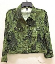 COURTENAY Woman's Long Sleeve Green Paisely Print 5 Button Shirt Jacket Top Sz 8
