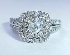 18 CT 0.73 CT Oro Blanco Diamante Anillo De Halo Cluster Cuadrado, Talla L, EE. UU. 5 3/4