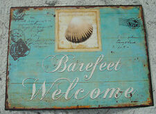 BAREFEET WELCOME Teal Blue Ocean Beach Seashell Shell Home Decor Sign NEW