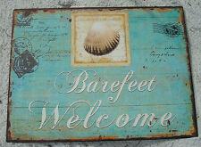 BAREFEET WELCOME Teal Blue Ocean Beach Seashell Shell Home Decor Sign NEW